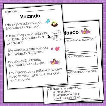 spanish reading comprehension passages  text based