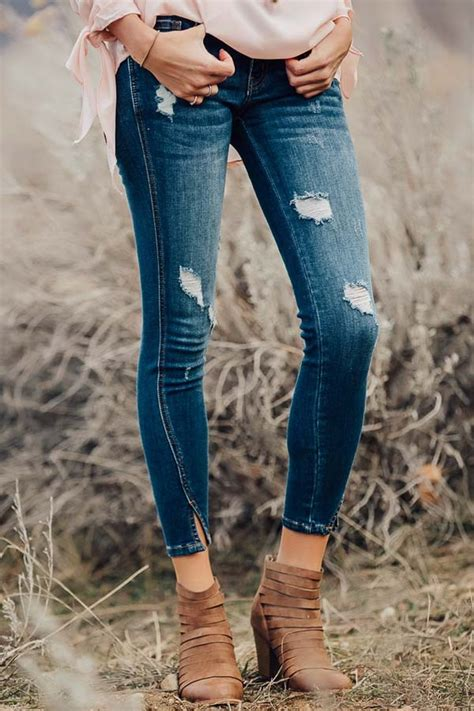 Dark Wash Distressed Twisted Skinny Jeans - Lime Lush Boutique