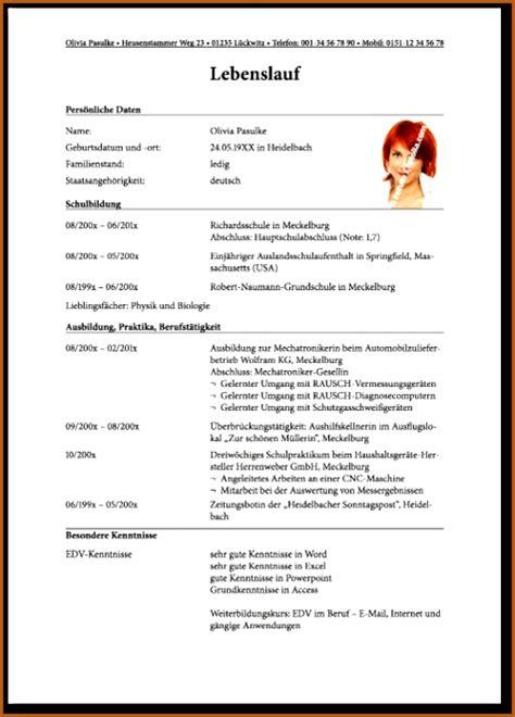 Lebenslauf Muster Ausbildung by 17 Muster Lebenslauf Ausbildung Vorlagen123 Vorlagen123