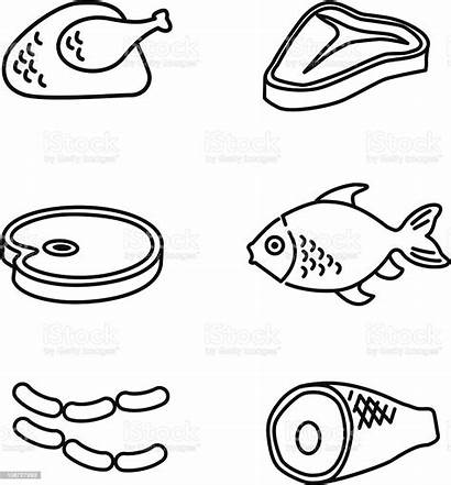 Meat Line Istock Icons Clip Vector Illustration