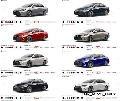 toyota camry colors 2015 toyota camry colors and trims visual buyers guide