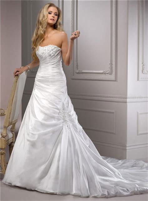 fitted   strapless corset  ruched organza wedding