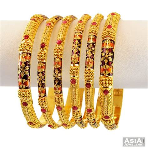 22k exclusive meenakari bangle set asba56635 22k gold designer bangles set designed with