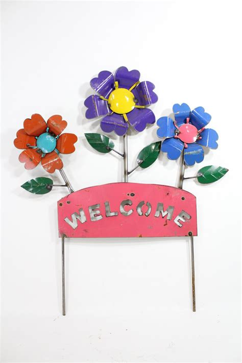 Garden Decoration Recycled by Recycled Metal Welcome Flower Stake Garden Decor