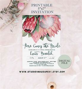 Protea bridal shower invitation printable bachelorette party for Wedding invitations with protea
