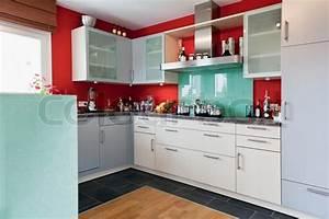 Modern house, Interior of modern kitchen room Stock