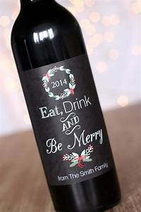 eat drink and be merry christmas wine labels holiday With custom wine bottle tags
