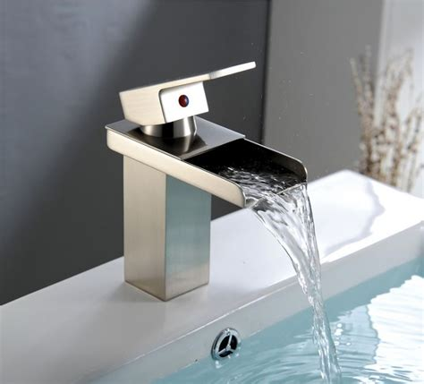 aquafaucet nickel brushed waterfall bathroom sink vessel