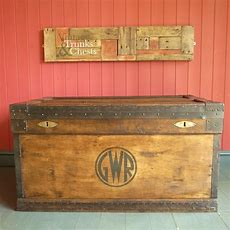 Antique Campaign Chest, Rustic Industrial Wooden Chest