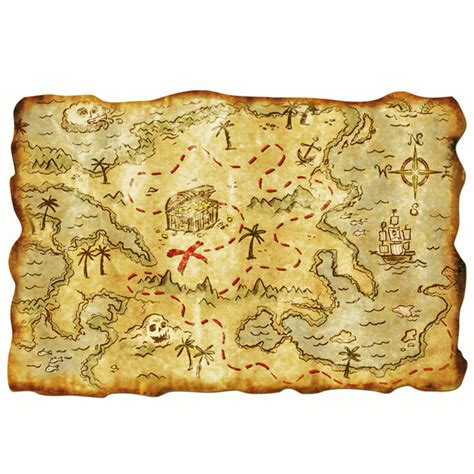 "12"" X 18"" Plastic Pirate Treasure Map  Nautical Theme Party Decorations"