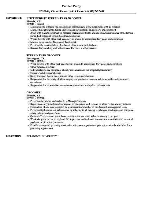 groomer resume samples velvet jobs