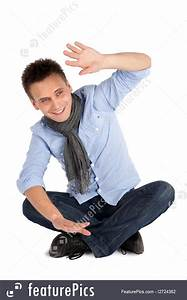 Cheerful Casual Man Sitting Picture  Sitting