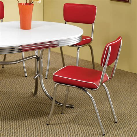 Kitchen Chair Upholstery by Retro Dining Chair 2 Pack 50 S Diner Chrome Kitchen