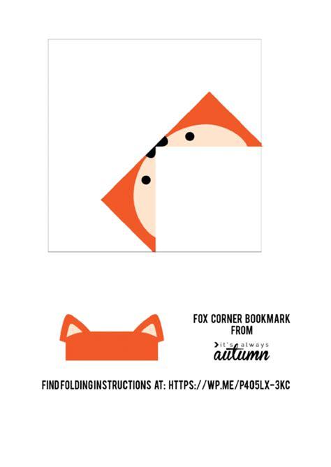 origami fox corner bookmark template printable