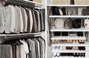 White elfa décor His & Hers Walk-In Closet