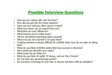 Sarah Music Magazine Possible Interview Questions