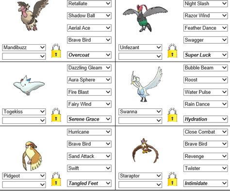 Gym Leader #5 Team, Made Up Of Flying Types.