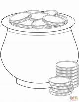 Coloring Coins Gold Pot Pages Printable Drawing Patrick St Crafts sketch template