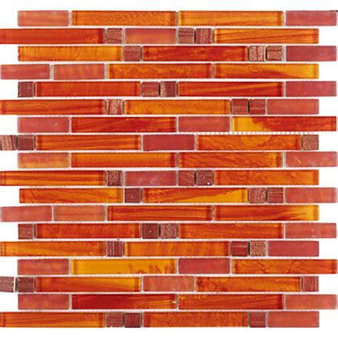 crystal glass red orange mosaic interlocking tile