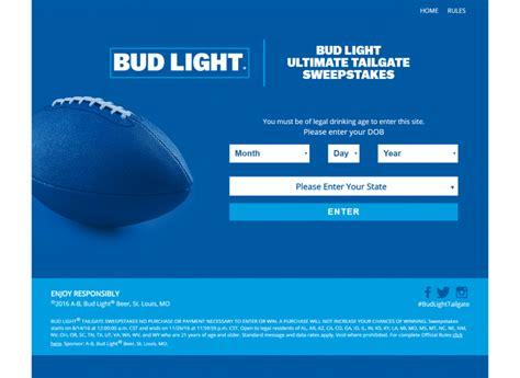 bud light tailgate sweepstakes bud light text to win ultimate tailgate sweepstakes text