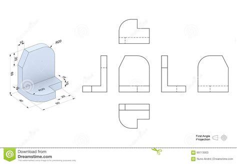 technische zeichnung ansichten technische zeichnung mit perspektive und orthogonalen ansichten stock abbildung illustration
