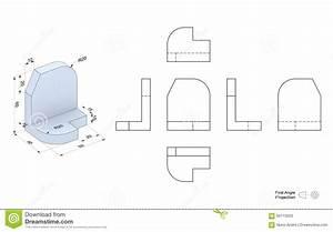 Technische Zeichnung Ansichten : technische zeichnung mit perspektive und orthogonalen ansichten stock abbildung illustration ~ Yasmunasinghe.com Haus und Dekorationen