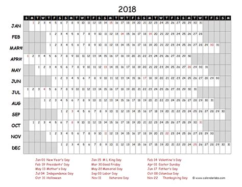 excel 2018 yearly calendar 2018 excel calendar project timeline free printable