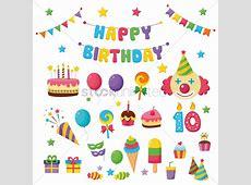 Happy birthday icons Clipart Vetorizados 1389046