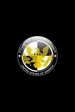 Counter Terrorist Unit Logo in Black Background iPhone