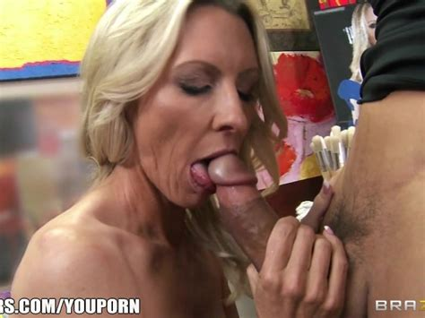 Mature Blonde Milf Shows Off Her Pierced Nipples Rides