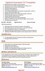 optical assisstant cv template 2 With cover letter for optical assistant