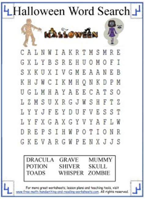 halloween word search printable activities