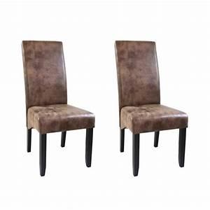 lot de 2 chaises de salle a manger cuir vintage achat With salle À manger contemporaineavec fauteuil de salle À manger en cuir