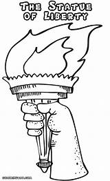 Liberty Statue Coloring Pages Drawing Template Torch Colorings Getdrawings sketch template