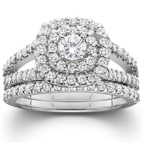 1 1 10ct cushion halo diamond engagement wedding ring set