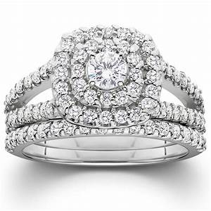 1 1 10ct cushion halo diamond engagement wedding ring set With 10k white gold wedding ring set