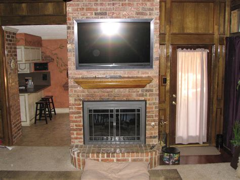 brick fireplaces  tv  tv install installation