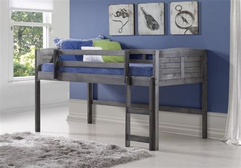lowest price donco kids twin louver  loft bed grey