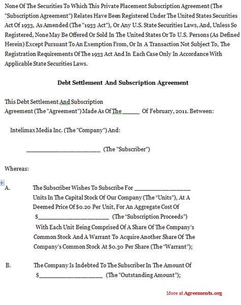 debt settlement agreement template  printable documents