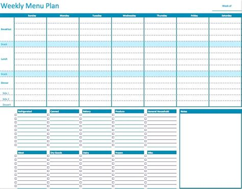 Menu Planning Template Weekly Menu Template E Commercewordpress