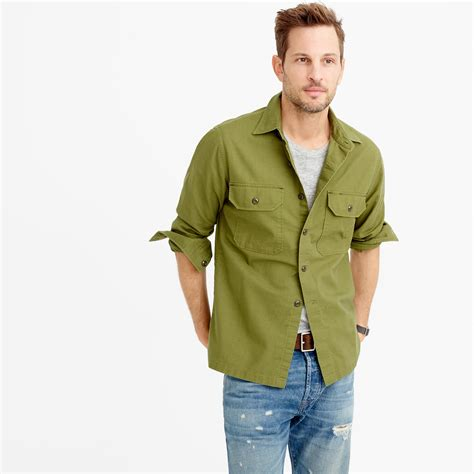 wallace and barnes j crew wallace barnes field shirt in green for