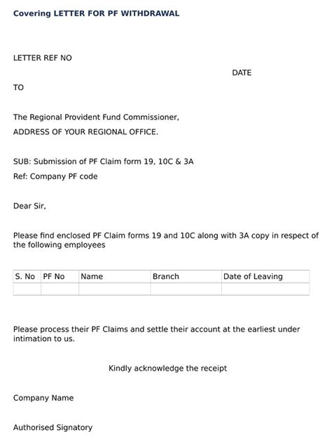 Covering Letter For by What Is Covering Letter For Pf Withdrawal Wisdom India