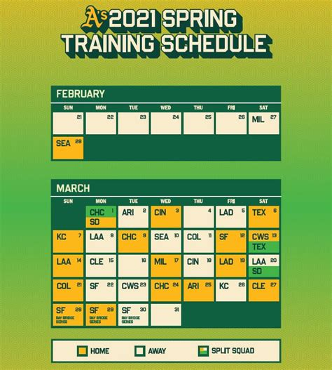 MLB spring training schedule 2021: A's release Cactus ...