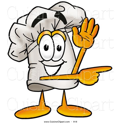 cuisine clipart cuisine clipart of a smiling chefs hat mascot character waving and pointing by toons4biz