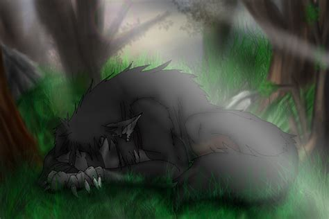 Sleeping Werewolf By Petplayer976 On Deviantart