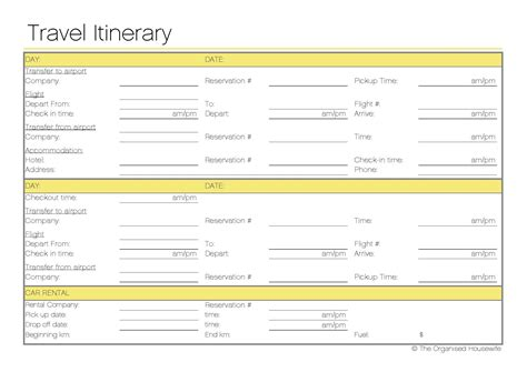 printable travel itinerary  organised housewife