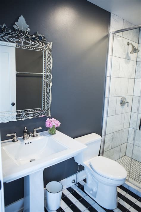 bathroom  black  white floor tiles contemporary
