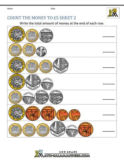 Uk Money Worksheets To £5