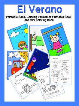 summer printable book  mini coloring book spanish tpt