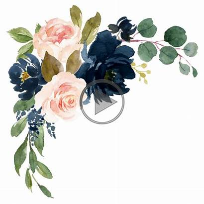 Watercolor Navy Blush Pink Flowers Floral Border
